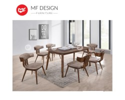 MF DESIGN Koan Dining Set (1 Table + 6 Chairs) - Scandinavian Style [Full Solid Wood]
